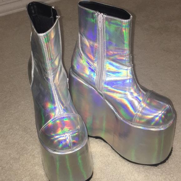 0f2d3378838 Dolls Kill Shoes - Demonia Holographic Platform boots